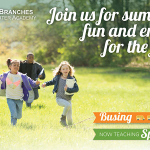 """Kids running in a field - """"New Branches Charter Academy: Join Us for Summer Fun and Enroll for the Fall! We offer busing! Now Teaching Spanish!"""""""